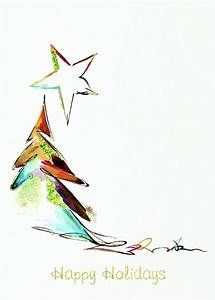 Artistic Tree Holiday Greeting Card Christmas Diy Watercolor