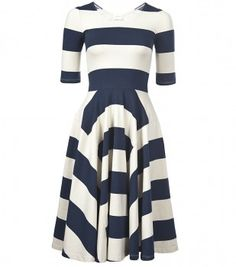 Navy blue and white striped dress.