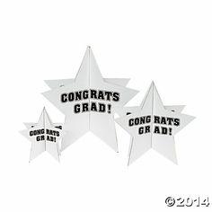 white congrats grad star table top decorations