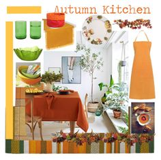 """""""Autumn Kitchen"""" by gagenna ❤ liked on Polyvore featuring interior, interiors, interior design, home, home decor, interior decorating, Nearly Natural, kitchen and Coincasa"""