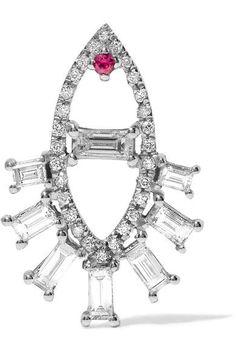 Ileana Makri - Teared Eye White Gold, Diamond And Ruby Earring - one size Ruby Earrings, Diamond Earrings, Ileana Makri, Evil Eye Jewelry, White Gold Diamonds, Ear Piercings, Jewelry Design, Women Jewelry, Engagement Rings