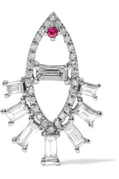 Diamonds, total weight: 0.59-carats; ruby, total weight: 0.25-carats Bell-back fastening for pierced ears NET-A-PORTER.COM is a certified member of the Responsible Jewellery Council Imported