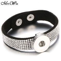 Mrs Win Snap Jewelry Snap Bracelet Crystal Black Leather Snap Leather Bracelets Bangles Fit 18MM Snap Jewelry bracelet