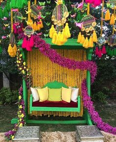 Let's jump to the list of off-beat Mehndi ceremony decoration ideas, that will lit up your decor in the best way, unique mehndi decor ideas Mehndi Decor, Mehendi Decor Ideas, Indian Decoration, Wedding Reception Seating, Ceremony Seating, Rustic Wedding, Trendy Wedding, Wedding Ceremony, Mehndi Ceremony