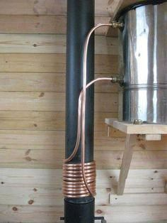 This wood burning stove is small, simple and is stacking functions because it is also serving as a water heater.It serves the Teach Nollaig tiny home and we think it is beautiful and amazingly functional. What do you think? via Fa