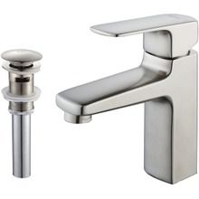 Kraus Virtus Single Lever Basin Bathroom Faucet and Pop Up Drain with Overflow