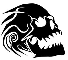 A tribal inspired image of a skull, im not hoppy with the twirl on the left hand side, i might edit it at some point. Skull Tattoos, Body Art Tattoos, Tattoo Drawings, Tribal Tattoos, Stylo Art, Skull Stencil, Half Skull, Totenkopf Tattoos, Desenho Tattoo