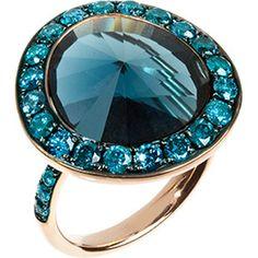 ANNOUSHKA Dusty diamonds 18ct rose-gold topaz and diamond ring