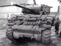 M4 sherman, with 76mm gun and improvised armor.