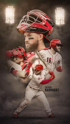 Baseball Wallpaper, Mlb Wallpaper, Football Ads, Sports Advertising, Mens Golf Outfit, Cincinnati Reds Baseball, Sports Graphic Design, Mlb Players, Sports Graphics