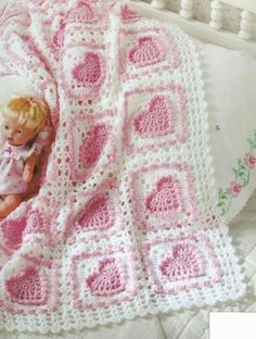 The Big Book of Baby Afghans crochet baby hearts afghan pattern Motifs Afghans, Afghan Crochet Patterns, Crochet Squares, Baby Patterns, Knitting Patterns, Baby Afghan Crochet, Manta Crochet, Crochet Bebe, Crochet Granny