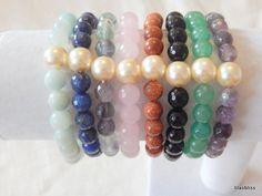 Bracelet beads pearls gemstone  Natural pearl bracelet gem  BRACELET : - Bracelet mounted on elastic stretchable -Strong latex free elastic cord