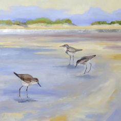 """""""Beach Day"""" by Ellen Welch Granter. Oil and Leaf on Panel, 20""""x20"""" *SOLD*"""