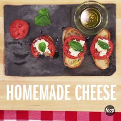 Next time you eat bruschetta, make your own cheese using the microwave to top it off! Add basil, tomato and oil for extra flavor.