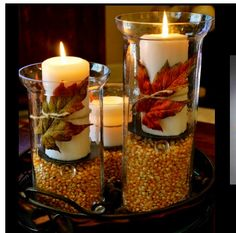 Centerpieces idea for fall season...use real leaves instead of silk!!