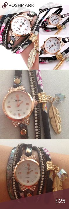 Leaf charm watch NWOT wrap around leaf charm watch with snap buckle closure. Accessories Watches