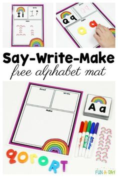 Free alphabet printable say it, write it, make it mat for spring #Alphabet #Preschool #Kindergarten #FreePrintable #FunADay #Preschoolers #PreschoolActivities #HandsOnLearning #ABC #PreschoolTeachers #PreschoolCenters #KindergartenCenters