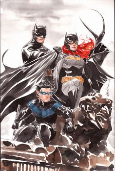 Batman, Batgirl, and Nightwing