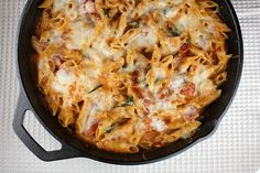 Skillet Baked Ziti. I think I already pinned something like this, but I'm really craving cheese and noodles lately I guess. No, I'm just hungry, I'm craving everything.