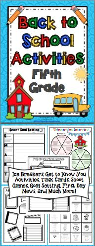 Back to School Activities (5th Grade) This 50+ page pack is loaded with activities to start your year off right! There are ice breaker activities, get to know you activities, task cards, Scoot games, first day activities, and much more! Also available for 3rd and 4th grades. $