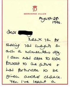 Princess Diana letter August 26th, 1996 page 1