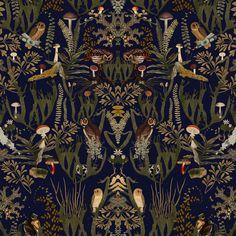 Swedish Forest Wonderful dark forest-themed pattern with mushroom, ferns and owls.Wonderful dark forest-themed pattern with mushroom, ferns and owls. Forest Wallpaper, Dark Wallpaper, Home Wallpaper, Funky Wallpaper, Swedish Wallpaper, Modern Wallpaper, Wallpaper Ideas, Mushroom Wallpaper, Art Decor