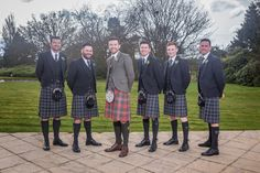Grant and his groomsmen. Grant went for our Premium Jacket Design Package while the groomsmen are in our exclusive Glen Orchy Tweed jackets and waistcoats and exclusive Oban Mis tartan kilts #macgregorandmacduff #mariaandgrant #kingsofkilts #macgregorandmacduffweddings #scottish #highlandwear @MCookPhotograph