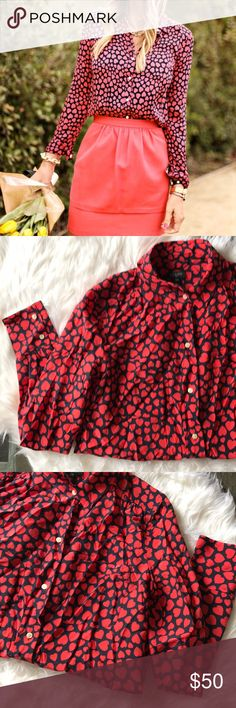 J. Crew heart printed long sleeve button up top Such a cute top! Navy with red heart print. Buttons all the way up. Has a red pen mark on the tag and is a little wrinkled otherwise excellent! Can fit an XS as well. Collared neck. J. Crew Tops Button Down Shirts
