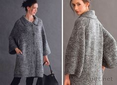 Объемное пальто выполнено спицами. Крой классический, силуэт ровный. Это пальто дополнит гардероб любой модницы.