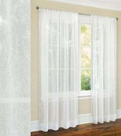 "63"" Long Crushed Sheer Curtain Panel -White by Moshells. $6.98. This Picture shows two Panels. This Package contains one Panel.. For a standard size window (23 to 36 inches wide) 2 curtain panels are recommended. Have pocket insert that create a clean, tailored look. Add a decorative touch of class to your windows with these crushed sheer curtain panels. These curtains are translucent so light will filter into your rooms. For a standard size window (23 to 36 inches wide) 2 c..."