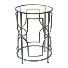 Picture of Silver Glam Glass-Top Drum Table 26-in