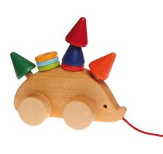 Grimm's Toddler Hedgehog – Natural Wood Pull Toy with 8 Colorful Cone & Disc Stackers