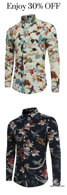 f99b27daf4e Men s Party Weekend Vintage Chinoiserie Boho Cotton Linen Slim Shirt with  floral print. Find it in white and navy blue colours at  10.79