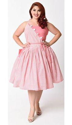 Unique Vintage Plus Size 1950s Style Pale Peach & White Stripe Hamilton Swing Dress