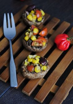 Heat up the Grill (or oven) for these Easy Mexican Stuffed Mushrooms! Finally a colorful stuffed mushroom recipe!  #vegan #glutenfree #recipe