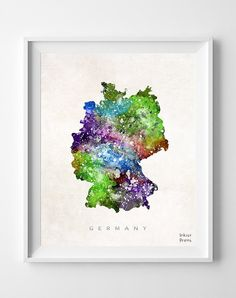 Germany Map Berlin Watercolor German Europe Home by InkistPrints, $11.95 - Shipping Worldwide! [Click Photo for Details]