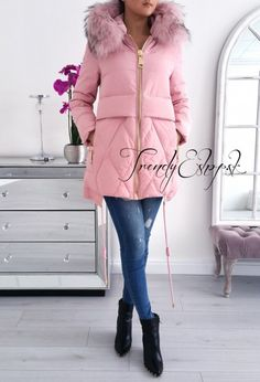 Zimná bunda s pravou kožušinou Cindy - svetloružová C122