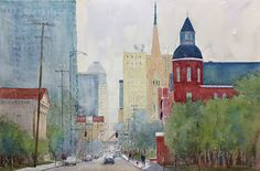 """""""North on Fourth"""" 14x21""""  Downtown Louisville, KY--home of the Kentucky Derby"""