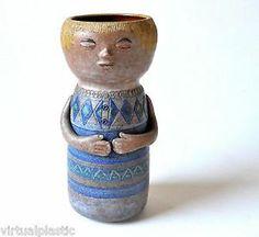 "Jane Wherrette NW Studio Pottery  Whimsical Figural Vase Washington 7.5""h x 3.25""w"