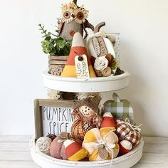 Fall Table Centerpieces, Fall Decorations, Galvanized Tiered Tray, Thanksgiving Crafts, Fall Crafts, Farmhouse Halloween, Tray Styling, Autumn Table, Tiered Stand