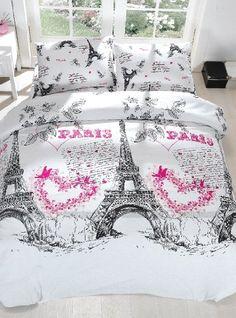 100% Cotton 3pcs Paris Hearts Single Twin Size Duvet Cover Set Eiffel Theme…