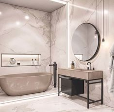 contemporary bathroom Interior Design Using Marble And Wood Combinations Modern Contemporary Bathrooms, Modern Bathroom Design, Bathroom Interior Design, Contemporary Decor, Bath Design, Contemporary Wallpaper, Contemporary Toilets, Contemporary Cottage, Contemporary Apartment