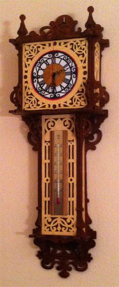Hanging barometer and thermometer, scroll saw fretwork pattern