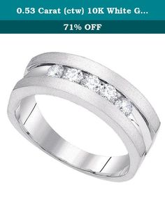 0.53 Carat (ctw) 10K White Gold Round Cut Diamond Mens 5 Stone Fashion Wedding Band 1/2 CT. This lovely diamond ring feature 0.53 ct white diamonds in Channel setting. All diamonds are sparkling and 100% natural. All our products with FREE gift box and 100% Satisfaction guarantee. SKU # GD85671.