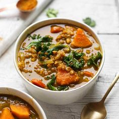 Curried Lentil Soup with carrots, potatoes, and kale!