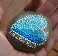 Painted rock, great lakes rocks, painted heart, rock art, heart art, valentine's gift, follow your heart,