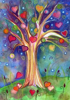 Beautiful art tree of life Art Fantaisiste, Sweet Trees, Heart Tree, Color Meanings, Heart Painting, Whimsical Art, Tree Art, Mail Art, Painting Inspiration