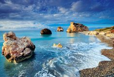 Petra Tou Romiou, Cyprus.     I've jumped off that center rock into the beautiful clear Mediterranean sea below. lovely.