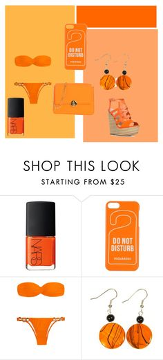 """""""orange (#2 rainbow)"""" by brittneycool10 on Polyvore featuring NARS Cosmetics, Dsquared2 and Camomilla"""