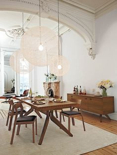 small version of these lights for kitchen island? dustjacket attic: Design | Dining Room Inspirations